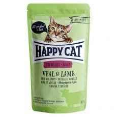 Pliculeț Happy Cat ALL MEAT Adult Sterilised Vițe & miel 85 g