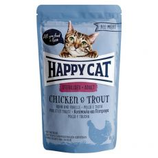 Pliculeț Happy Cat ALL MEAT Adult Sterilised pui & Păstrăv 85 g