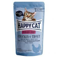 Pouch Happy Cat ALL MEAT Adult Sterilised pui & Păstrăv 85 g
