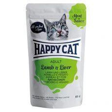 Pliculeț Happy Cat MEAT IN SAUCE Adult Miel & Ficat 85 g