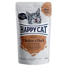 Pouch Happy Cat MEAT IN SAUCE Adult pui & rață 85 g
