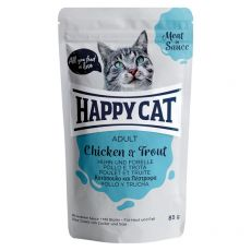 Pliculeț Happy Cat MEAT IN SAUCE Adult pui & Păstrăv 85 g