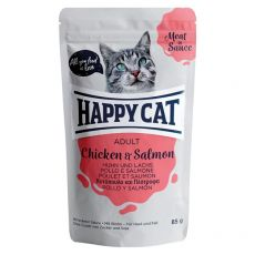 Pouch Happy Cat MEAT IN SAUCE Adult pui & somon 85 g