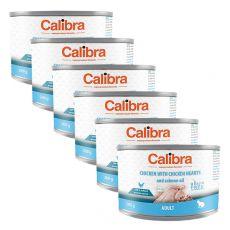 Calibra Cat Adult GF –pui și inimi de pui cu ulei de somon, conservă 6 x 200g