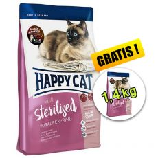 Happy Cat Sterilised Voralpen Rind / Carne de vită 1,4 kg + 1,4 kg GRATIS
