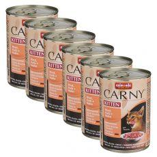 Hrană umedă CARNY KITTEN carne de vită,vițel+ pui 6 x 400 g