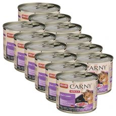 Hrană umedă CARNY ADULT carne de vită + miel 12 x 200 g