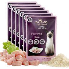 Pouch NUEVO CAT Kitten Păsări de curte și orez 6 x 85 g, 5 + 1 GRATUIT