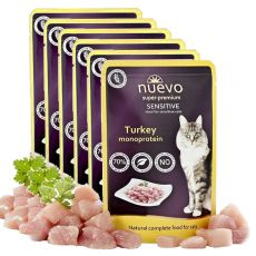 Pliculeț NUEVO CAT Sensitive Turkey Monoprotein 6 x 85 g, 5 + 1 GRATUIT