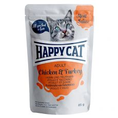 Happy Cat MEAT IN SAUCE Adult Chicken & Turkey hrană plic 85 g