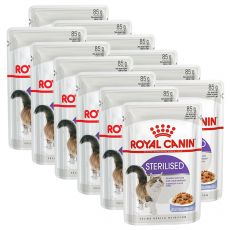 Royal Canin STERILISED in Jelly 12 x 85 g - hrană în jeleu, ambalat în pungă de aluminiu