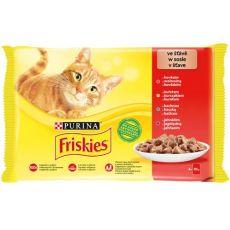 Friskies hrană pentru pisici la plic -  pui, vită, miel și rață în sos 4 x 85 g
