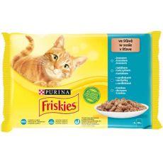 Friskies hrană pentru pisici la plic - somon, ton, sardine și peşte cod în sos  4 x 85 g