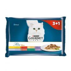 Gourmet Perle Duo hrană la plic pentru pisici, amestec de carne 4 x 85 g
