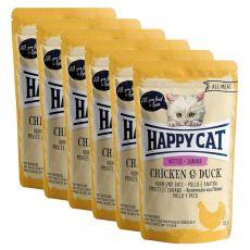Pouch Happy Cat ALL MEAT Kitten Junior pui & rață 6 x 85 g