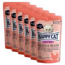 Pliculeț Happy Cat ALL MEAT Kitten Junior pui & Pollack 6 x 85 g