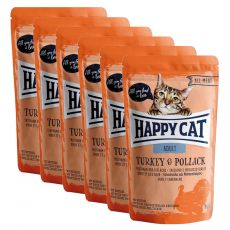 Pliculeț Happy Cat ALL MEAT Adult Turkey & Pollack 6 x 85 g
