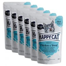 Pliculeț Happy Cat MEAT IN SAUCE Adult pui & Păstrăv 6 x 85 g