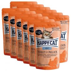 Pliculeț Happy Cat ALL MEAT Adult Turkey & Pollack 12 x 85 g