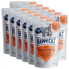 Happy Cat MEAT IN SAUCE Adult Chicken & Turkey hrană plic 12 x 85 g