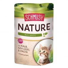 Schmusy Nature Pungă cu vițel și păsări de curte pentru pisicuțe 100 g
