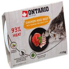 Hrană umedă ONTARIO Pui & vită cu taurină 115 g