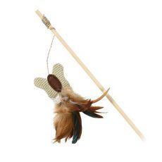 Jucărie pentru pisici - băț de lemn cu fluture.