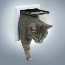 uși pentru pisici cu 2 moduri de închidere-albe