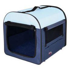 Cutie de transport pentru câini – albastru cu bej, 50 x 50 x 60 cm