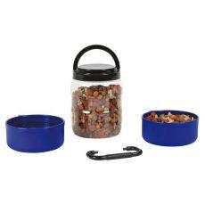 Cutie portabilă pentru hrană uscată cu două boluri 750 ml