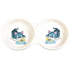 Castron dublu din ceramică pentru pisici - 150 ml