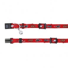 Zgardă pentru pisici în culoare roșie, cu modele  - 15 - 20 cm