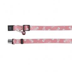 Zgardă pentru pisici cu modele de craniu, în culoare roz - 15 - 20 cm