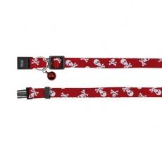 Zgardă pentru pisici de culoare roșie, cu modele de craniu - 15 - 20 cm