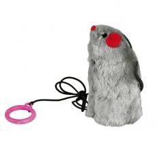 Jucărie pentru pisici - șoarece dotat cu un fir elastic, emite sunete 9cm.
