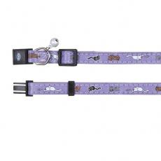 Zgardă pentru pisici, în culoare violet cu modele de pisică - 18 - 30 cm