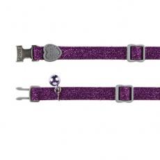 Zgardă pentru pisici în culoare violet, cu luciu - 18 - 30 cm