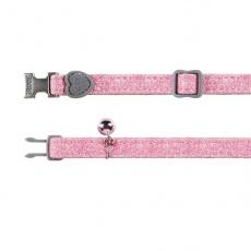 Zgardă pentru pisici, cu praf roz de luciu - 18 - 30 cm