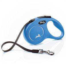 Lesă Flexi New Classic S până la 15kg, bandă de 5m– albastru