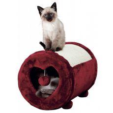Sisal pentru pisici, inimă bordo, cu formă cilindrică