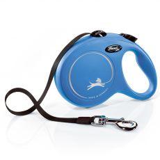 Lesă Flexi NEW CLASSIC lesă L pentru câini de până la 50kg, bandă de 5m– albastru