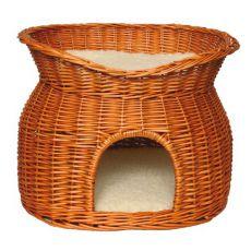Scorbură pentru câini și pisici realizată din nuiele împletite  - cavernă