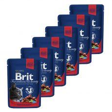 Pliculeț BRIT Premium Cat Carne de vită și mazăre 6 x 100 g