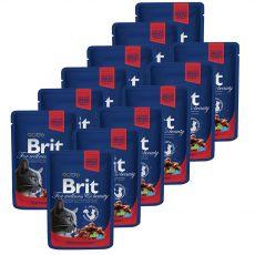 Pliculeț BRIT Premium Cat Carne de vită și mazăre 12 x 100 g