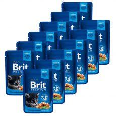 Pliculeț BRIT Premium Kitten Chicken Chunks 12 x 100 g