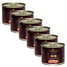 Conservă NUEVO CAT Adult Chicken & Shrimps 6 x 200 g, 5 + 1 GRATUIT