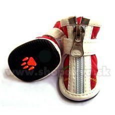 Pantofi câini cu închidere cu fermoar, roșu (4 buc) – mărime 3