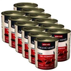 tin GranCarno Fleisch Junior Beef +Turkey hearts - 12 x 800g