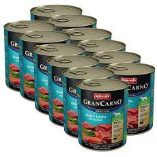 Conservă GranCarno Original Adult carne de vită și somon + spanac - 12 x 800g