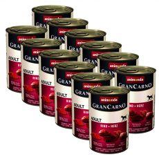 Conservă GranCarno Original Adult carne de vită și inimă - 12 x 400g